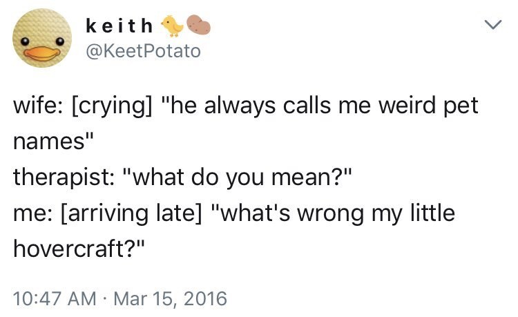 "funny dating - Text - keith @KeetPotato wife: [crying] ""he always calls me weird pet names"" therapist: ""what do you mean?"" me: [arriving late] ""what's wrong my little hovercraft?"" 10:47 AM Mar 15, 2016"