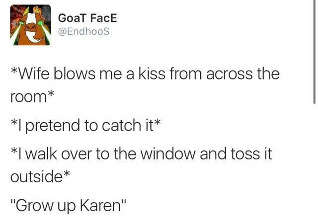 "funny dating - Text - GoaT FacE @EndhooS *Wife blows me a kiss from across the room* Ipretend to catch it* *I walk over to the window and toss it outside* ""Grow up Karen"""