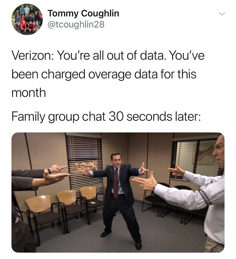 Funny meme about going over data, family plan, family group chat, phones.