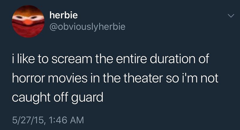 Text - herbie @obviouslyherbie i like to scream the entire duration of horror movies in the theater so i'm not caught off guard 5/27/15, 1:46 AM