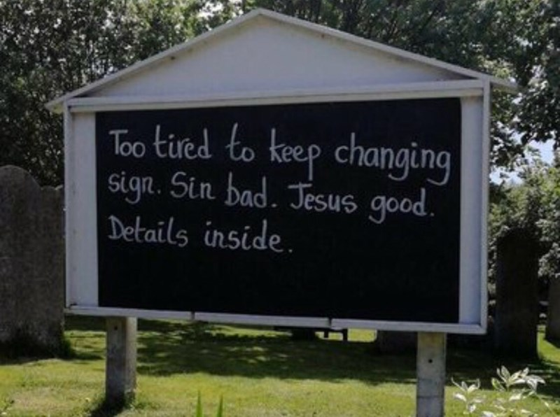 Nature - Too tied to keep changing sign. Sin bad. Jesus good. Details inside