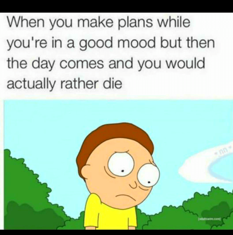 Cartoon - When you make plans while you're in a good mood but then the day comes and you would actually rather die