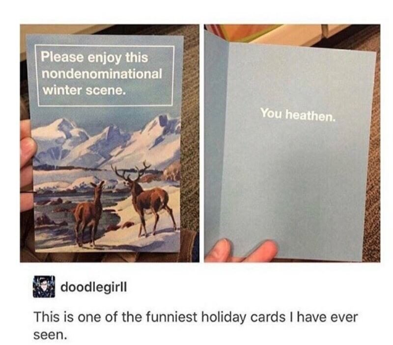 Text - Please enjoy this nondenominational winter scene. You heathen. doodlegirll This is one of the funniest holiday cards I have ever seen.