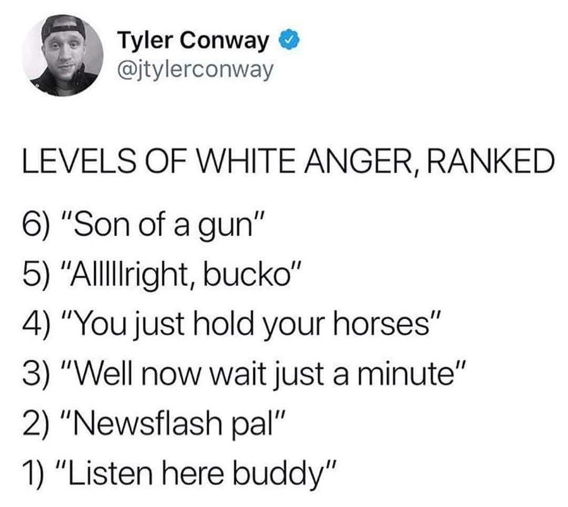 """Text - Tyler Conway @jtylerconway LEVELS OF WHITE ANGER, RANKED 6) """"Son of a gun"""" 5) """"Allllight, bucko"""" 4) """"You just hold your horses"""" 3) """"Well now wait just a minute"""" 2) """"Newsflash pal"""" 1) """"Listen here buddy"""""""