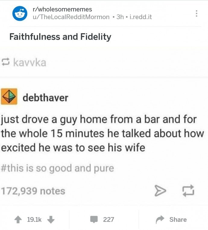 Text - r/wholesomememes u/TheLocalRedditMormon 3h i.redd.it Faithfulness and Fidelity kavvka debthaver just drove a guy home from a bar and for the whole 15 minutes he talked about how excited he was to see his wife #this is so good and pure 172,939 notes 19.1k 227 Share