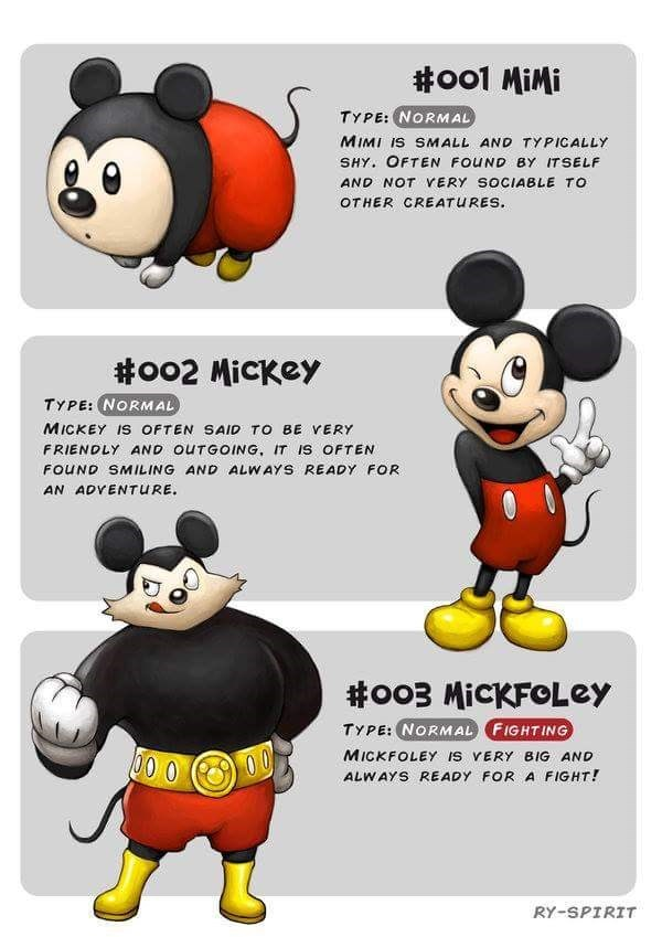 Cartoon - #oo1 MiMi TYPE: NORMAL MIMI IS SMALL AND TYPICALLY SHY. OFTEN FOUND BY ITSELF AND NOT VERY SOCIABLE TO OTHER CREATURES #oo2 MicKey TYPE: NORMAL MICKEY Is OFTEN SAID TO BE VERY FRIENDLY AND OUTGOING, IT IS OFTEN FOUND SMILING AND ALWAYS READY FOR AN ADVENTURE. #o03 MicKFOLey TYPE: NORMAL FIGHTING MICKFOLEY IS VERY BIG AND 00 0 O0 ALWAYS READY FOR A FIGHT! RY-SPIRIT