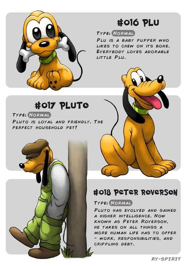 Cartoon - #o16 PLU TYPE: NORMAL PLu IS A BABY PUPPER WHO LIKES TO CHEW ON ITS BONE. EVERYBODY LOVES ADORABLE LITTLE PLU. #o17 PLUTO TYPE: (NORMAL PLUTO IS LOYAL AND FRIENDLY. THE PERFECT HOusEHOLD PET! #o18 PETER ROVERSON TYPE: NORMAL PLUTO HAS EVOLVED AND GAINED A HIGHER INTELLIGENCE. Now KNOWN AS PETER ROYERSON HE TAKES ON ALL THINGS A MORE HUMAN LIFE HAS TO OFFER WORK, RESPONSIBILIT IES, AND CRIPPLING DEBT RY-SPIRIT