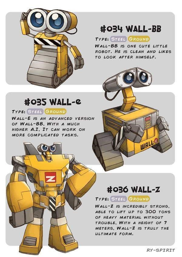 Cartoon - #o34 WALL-BB TYPE: STEEL GROUND WALL-BB s ONE CUTE LITTLE ROBOT. HE IS CLEAN AND LIKES TO LOOK AFTER HIMSELF. #035 WALL-e TYPE: STEEL GROUND WALL-E IS AN ADYANCED YERSION OF WALL-BB, WITH A MUCH HIGHER A.I, IT CAN WORK ON MORE COMPLICATED TASKS WALL #036 WALL-z TYPE: STEEL GROUND WALL-Z IS INCREDIBLY STRONG ABLE TO LIFT UP TO 300 TONS OF HEAVY MATERIAL WITHOUT TROUBLE, WITH A HEIGHT OF 7 METERS, WALL-Z IS TRULY THE ULTIMATE FORM. RY-SPIRIT