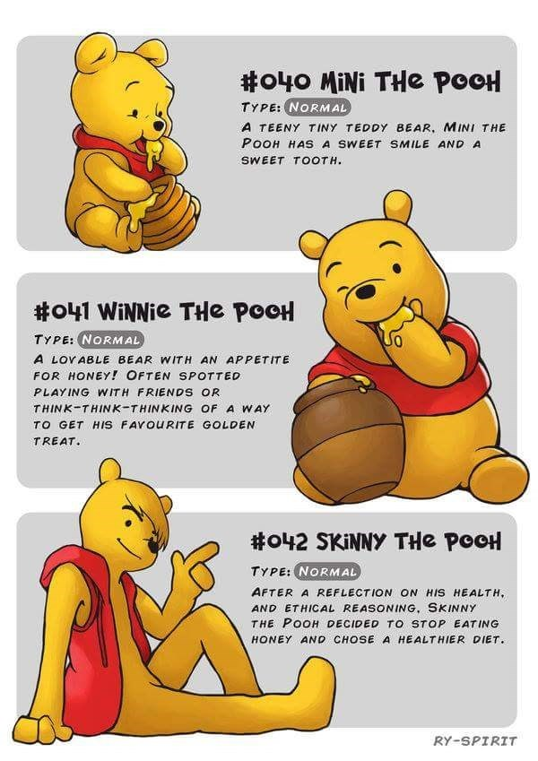 Cartoon - #o40 MINI THe POOH TYPE: NORMAL A TEENY TINY TEDDY BEAR, MINI THE PoOH HAS A SWEET SMILE AND A SWEET TOOTH #o41 WiNNie THe POOH TYPE: NORMAL A LOYABLE BEAR WITH AN APPETITE FOR HONEY! OFTEN SPOTTED G WIT PLA RIENDS OR THINK THINK-THINKING OF A WAY TO GET HIS FAVOURITE GOLDEN TREAT. #o42 SKINNY THe PooH TYPE: NORMAL) AFTER A REFLECTION ON HIS HEALTH, AND ETHICAL REASONING, SKINNY THE POOH DECIDED TO STOP EATING HONEY AND CHOSE A HEALTHIER DIET. RY-SPIRIT