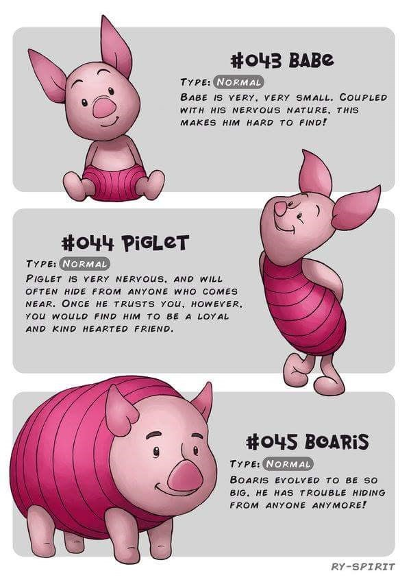 Domestic pig - #o43 BABE TYPE: NORMAL BABE IS VERY, VERY SMALL. COUPLED WITH HIS NERYOUS NATURE, THIS MAKES HIM HARD TO FIND! #o44 PIGLET TYPE: NORMAL PIGLET IS VERY NERYOUS, AND WILL OFTEN HIDE FROM ANYONE WHO COMES NEAR. ONCE HE TRUSTS YOu, HOWEYER, YOu WOULD FIND HIM TO BE A LOYAL AND KIND HEARTED FRIEND. #o45 BOARIS TYPE: NORMAL BOARIS ErOLVED TO BE SO BIG, HE HAS TROUBLE HIDING FROM ANYONE ANYMORE! RY-SPIRIT