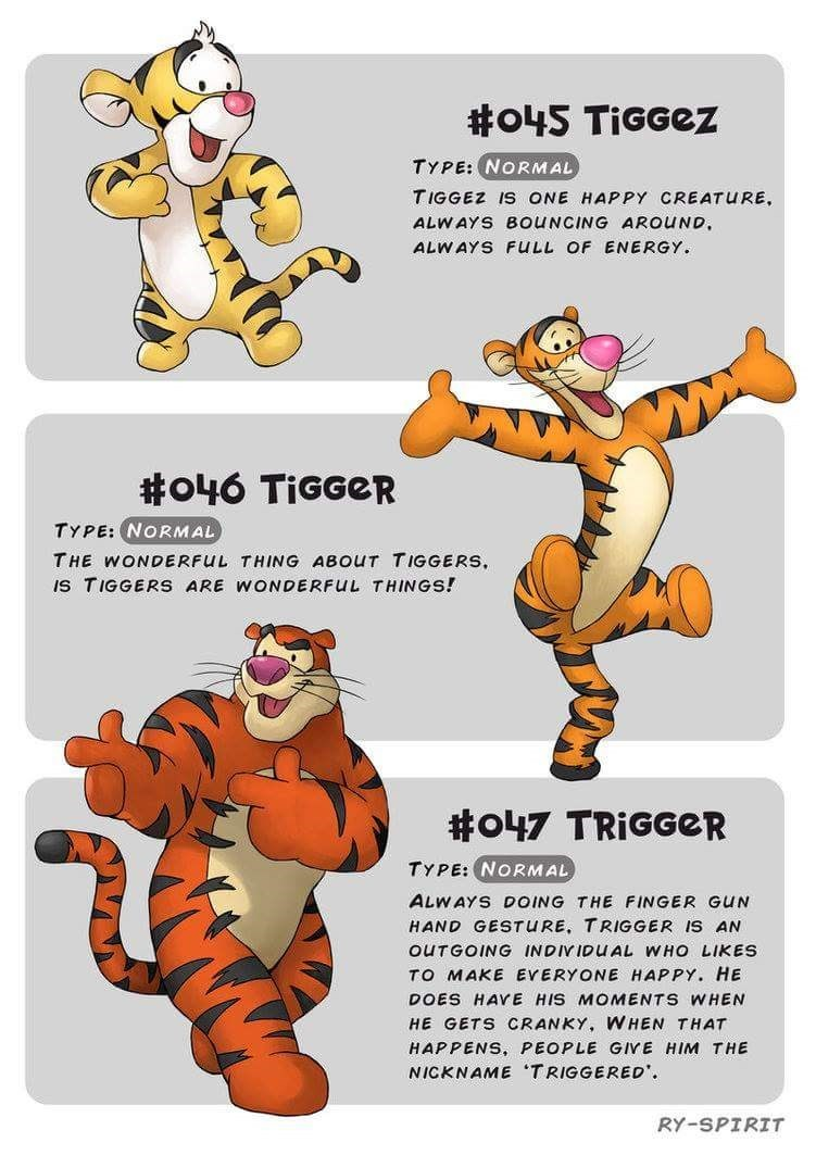 Animal figure - #o45 TiGGez TYPE: NORMAL TIGGEZ IS ONE HAPPY CREATURE ALWAYS BOUNCING AROUND ALWAYS FULL OF ENERGY #o46 TIGGER TYPE: NORMAL THE WONDERFUL THING ABOUT TIGGERS, IS TIGGERS ARE WONDERFUL THINGS! #o47 TRIGGER TYPE: NORMAL ALWAYS DOING THE FINGER GUN HAND GESTURE, TRIGGER IS AN OUTG ING VIDUAL WHO LIKES TO MAKE EVERYONE HAPPY. HE DOES HAYE HIS MOMENTS WHEN HE GETS CRANKY, WHEN THAT HAPPENS, PEOPLE GIVE HIM THE NICKNAME TRIGGERED RY-SPIRIT