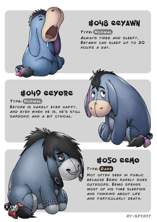 Cartoon - o48 eeyAWN TYPE: NORMAL ALWAYS TIRED AND SLEEPY EEY AWN CAN SLEEP uP TO 20 HOURS A DAY #o49 eeyoRG TYPE: NORMAL EEYORE IS HARDLY EVER HAPPY AND EVEN WHEN HE IS, HE'S STILL SARDONIC AND A BIT CYNICAL #o50 eeMo еело TYPE: DARK NOT OFTEN SEEN IN PUBLIC BECAUSE EEMO RARELY GOES OUTDOORS. EEMO SPENDS MOST OF HIS TIME SLEEPING AND THINKING ABOUT LIFE AND PARTICULARLY DEATH RY-SPIRIT