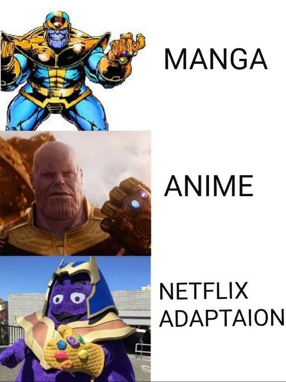 Netflix adaptation meme of Thanos as McDonald's Grimace