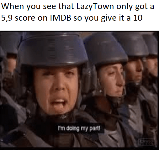 """soldier saying she's """"doing her part"""" by rating Lazy Town a perfect score"""