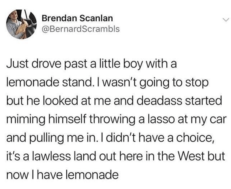 Text - Brendan Scanlan @BernardScrambls Just drove past a little boy with a lemonade stand. I wasn't going to stop but he looked at me and deadass started miming himself throwing a lasso at my car and pulling me in. I didn't have a choice, it's a lawless land out here in the West but now I have lemonade