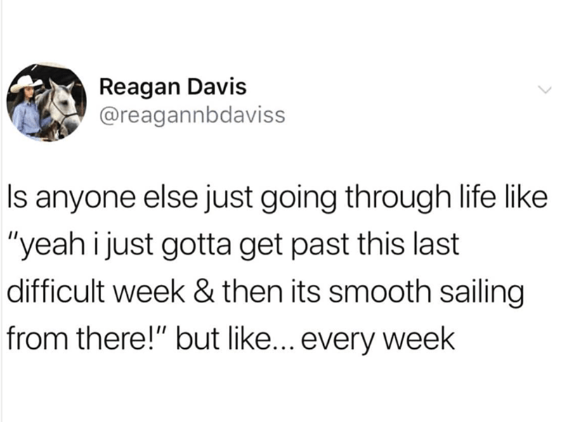 """Text - Reagan Davis @reagannbdaviss Is anyone else just going through life like """"yeah i just gotta get past this last difficult week & then its smooth sailing from there!"""" but like... every week"""
