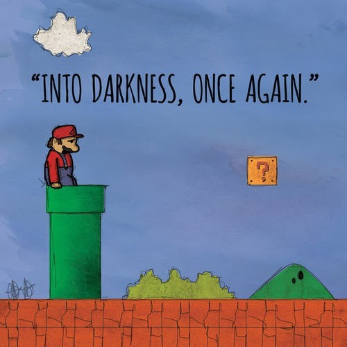 """Cartoon - """"INTO DARKNESS, ONCE AGAIN."""""""
