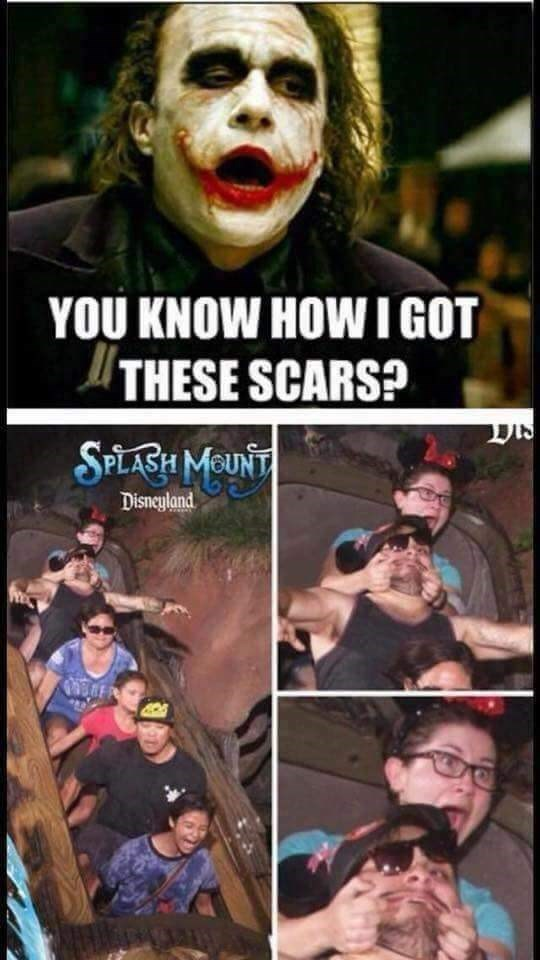 Friday meme about the Joker getting his Glasgow smile from riding the Splash Mountain ride