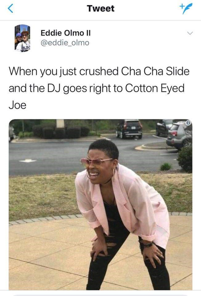 Friday meme about line dancing with pic of a tired woman leaning down