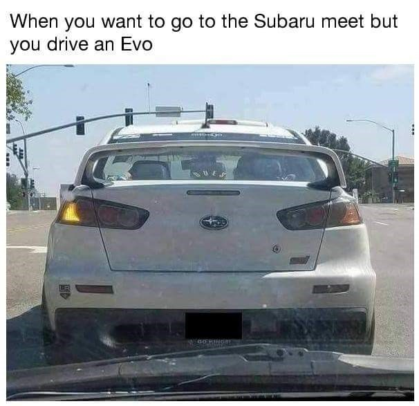 Friday meme about disguising your car as a Subaru for some reason