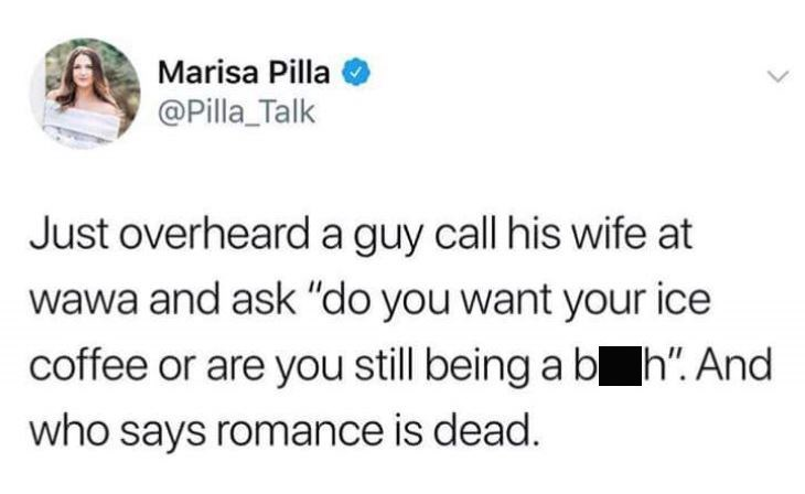 Friday meme with tweet about overhearing a romantic exchange