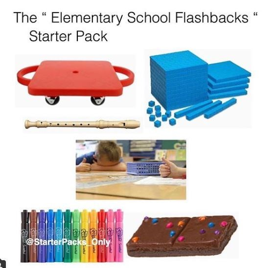 elementary school starter pack meme of with recorder, whiteboard markers and base ten blocks