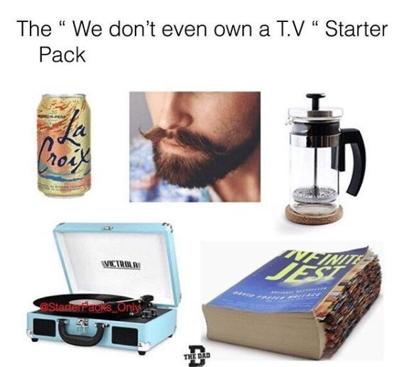 Hipster starter pack meme with mustache, La Croix can and record player