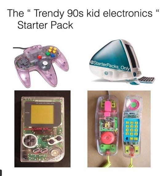 90s electronics starter pack meme with transparent phones, consoles and computers