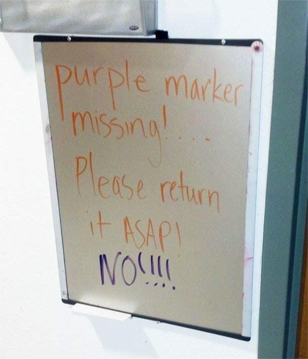 sigh asking to return the purple marker and gets a response in purple