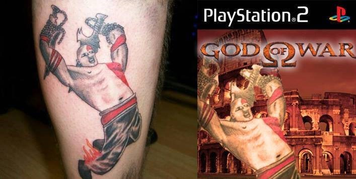 tattoo fail of the game God of War that looks nothing like the character