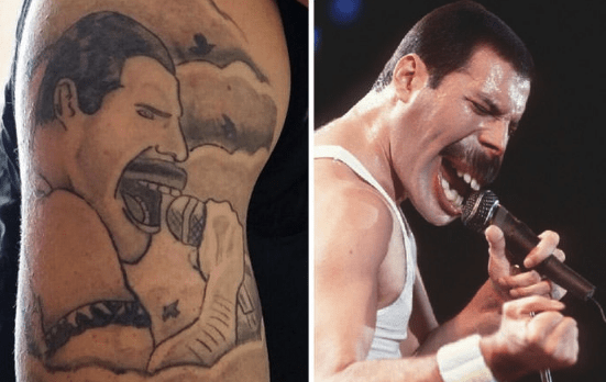 tattoo fail of Freddie Mercury on someones arm that looks nothing like him
