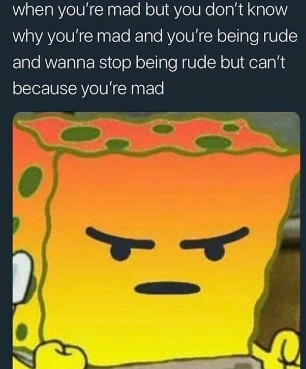Text - when you're mad but you don't know why you're mad and you're being rude and wanna stop being rude but can't because you're mad