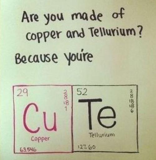 Text - Are you made of copper and Tellurium? Because youre 29 52 2 18 Cu Te 1 Tellurium Copper 2760 63.546