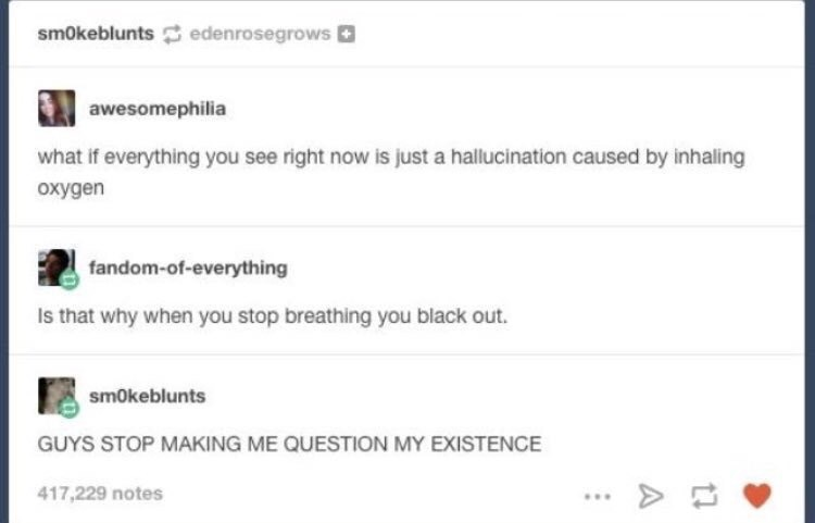 Tumblr meme about everything being a hallucination caused by breathing oxygen