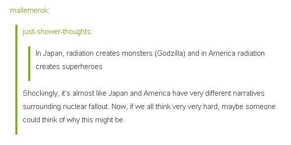 Tumblr meme about nuclear radiation in America vs in Japan