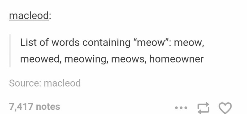 Tumblr meme about the word meow being included in the word homeowner