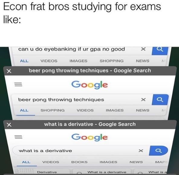 memes - Text - Econ frat bros studying for exams like: can u do eyebanking if ur gpa no good X IMAGES MI VIDEOS SHOPPING NEWS ALL beer pong throwing techniques - Google Search Google beer pong throwing techniques VIDEOS ALL SHOPPING IMAGES NEWS what is a derivative Google Search Google what is a derivative MAPS ALL VIDEOS BOOKS IMAGES NEWS Derivative What is a derivative What is al X