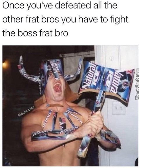 memes - Human - Once you've defeated all the other frat bros you have to fight the boss frat bro @dabmoms Natural MemeCenter.com ICE Vatura