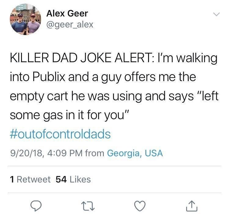 Funny tweet about dad jokes.