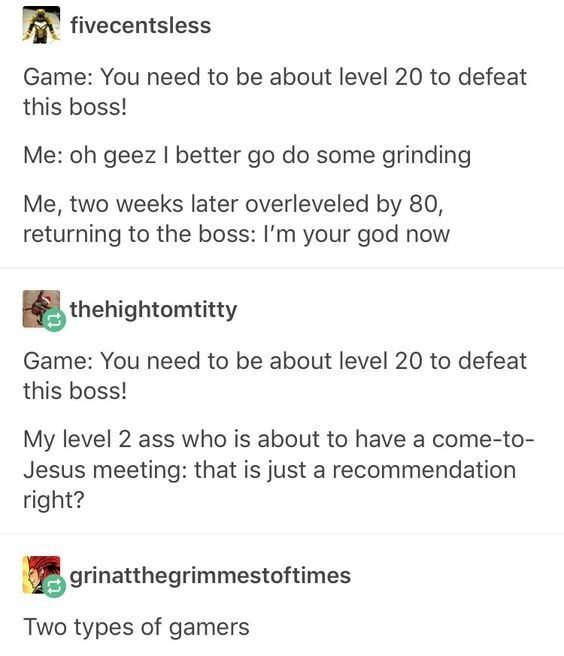 Tumblr thread about two type of gamers being faced with boss