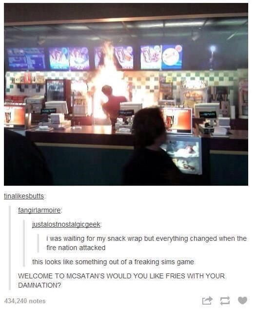 Tumblr thread about fire breaking out in fast food counter