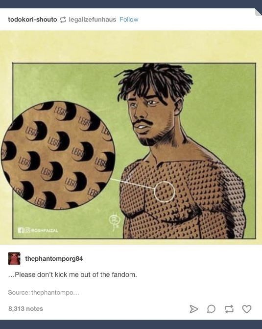 Tumblr post about Killmonger from Black Panther having lego tattoos