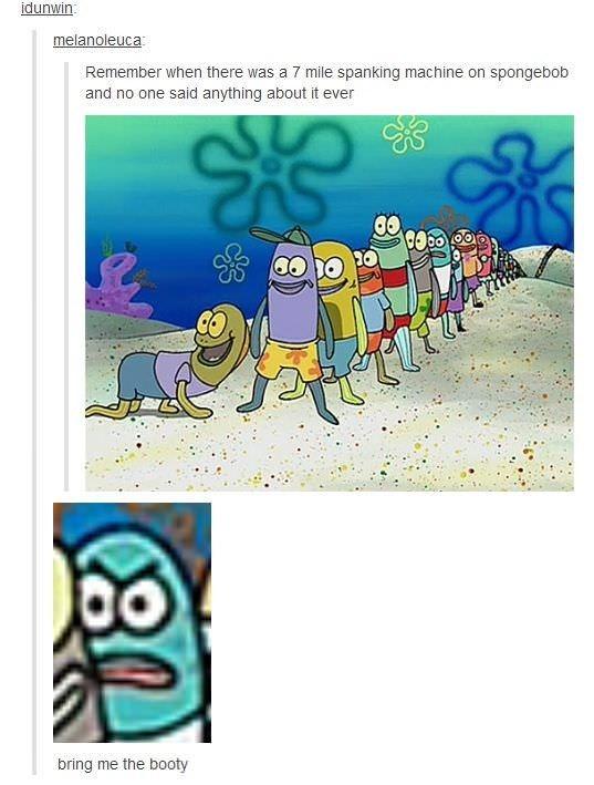 Tumblr post about spanking machine on Spongebob