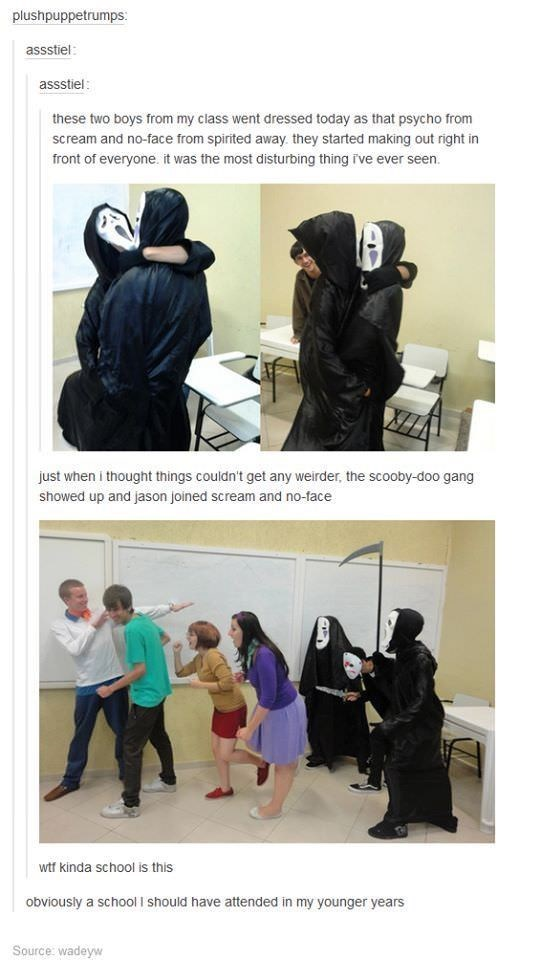 Tumblr post about No Face and Scream murderer getting together and chasing the Scooby Doo gang in Halloween