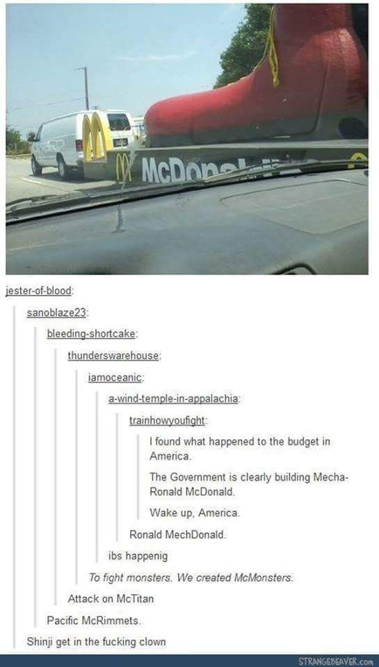 Tumblr thread about America building giant robot Ronald McDonald