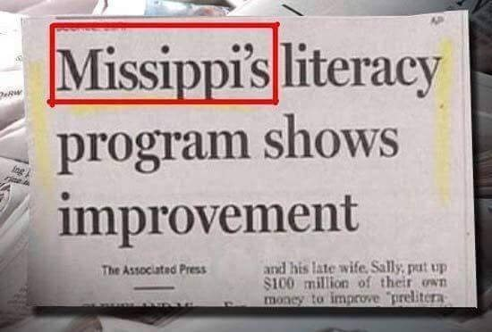 Font - Missippi's literacy program shows improvement and his late wife, Sally, pat up $100 million of their own moncy to improve prelitera The Associated Press