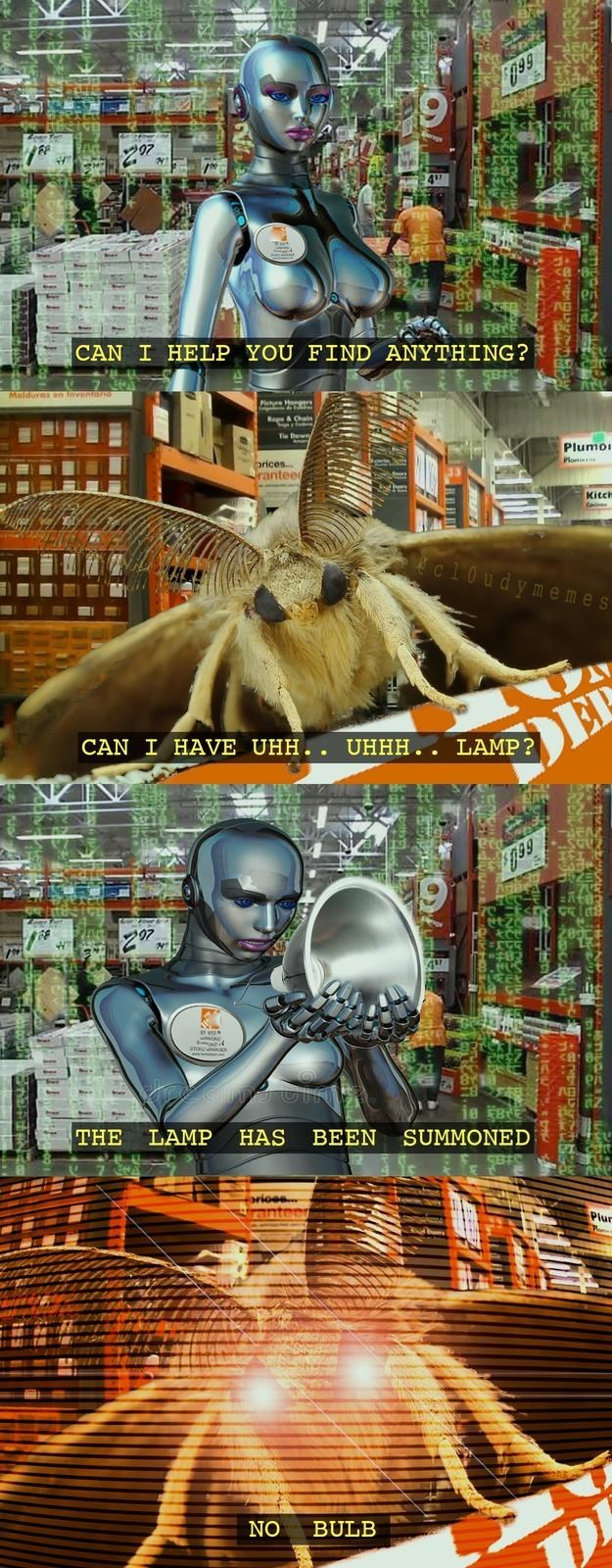 can I have uhh meme with moth asking for lamp then wanting it without the bulb