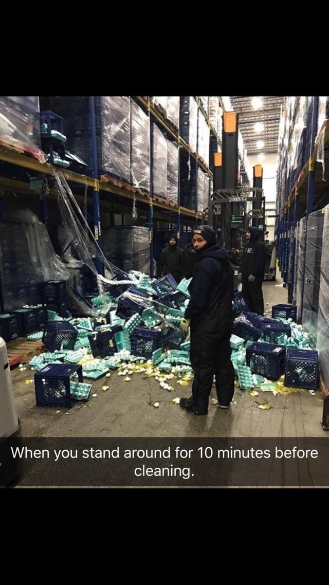 Selling - When you stand around for 10 minutes before cleaning.