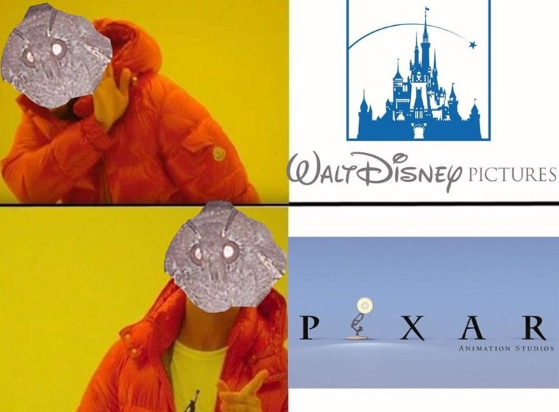 Drake hotline meme about moths preferring Pixar over Disney because they have a lamp in their logo