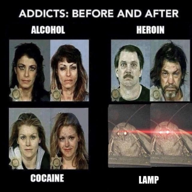 before and after pictures of addicts with moth getting glowing eyes after abusing lamp